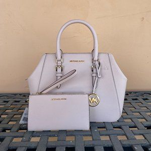 Michael Kors Satchel Bag + Wristlet Set Pink